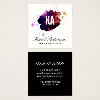 Watercolor brushed / Monogram Square Business Card