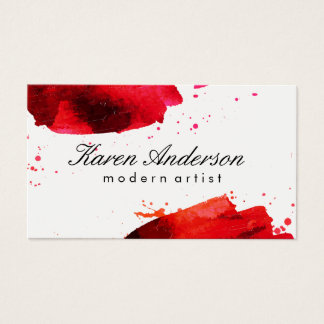 Watercolor brushed (red) business card