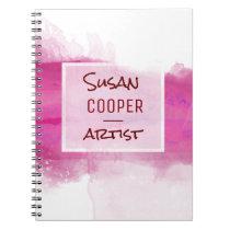 Watercolor Brushstrokes Crimson and ROSE Desig Notebook