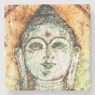 Watercolor Buddha Lotus Art Stone Coaster