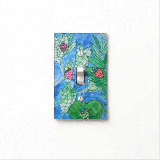 Watercolor Bugs on Leaves Light Switch Cover