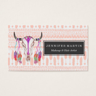 Watercolor Bull Skull Feathers and Arrow Aztec Business Card