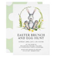 Watercolor Bunny Easter Brunch Egg Hunt Invitation