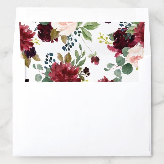 Watercolor Burgundy and Blue Flowers Envelope Liner