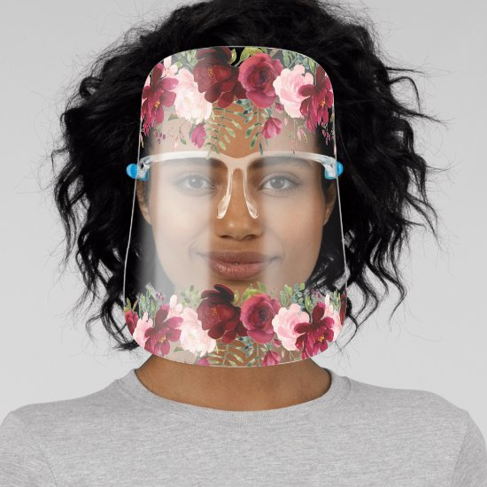 Watercolor Burgundy and Blush Pink Roses Face Shield