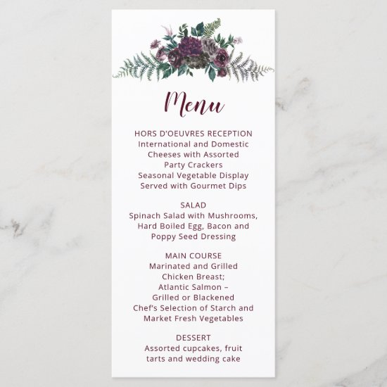 Watercolor Burgundy and Gray Flowers Wedding Menu