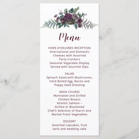 Watercolor Burgundy and Gray Flowers Wedding Menu