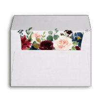 Watercolor Burgundy Blue Floral Wedding Invitation Envelope