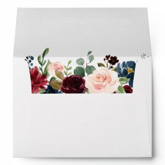 Watercolor Burgundy Blue Floral Wedding Invitation Envelope