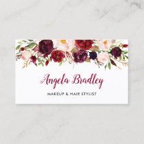 Watercolor Burgundy Floral Facebook Instagram Logo Business Card
