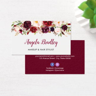 Watercolor Burgundy Floral Facebook Instagram Logo Business Card