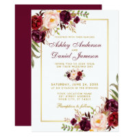 Watercolor Burgundy Floral Gold Wedding Invitation