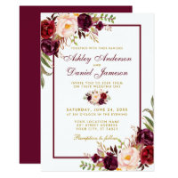 Watercolor Burgundy Floral Gold Wedding Invite BF