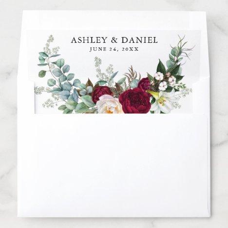 Watercolor Burgundy Floral Greenery Wedding B Envelope Liner
