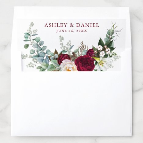 Watercolor Burgundy Floral Greenery Wedding Envelope Liner
