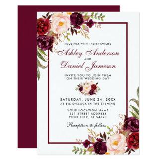 Watercolor Burgundy Floral Wedding Invitation