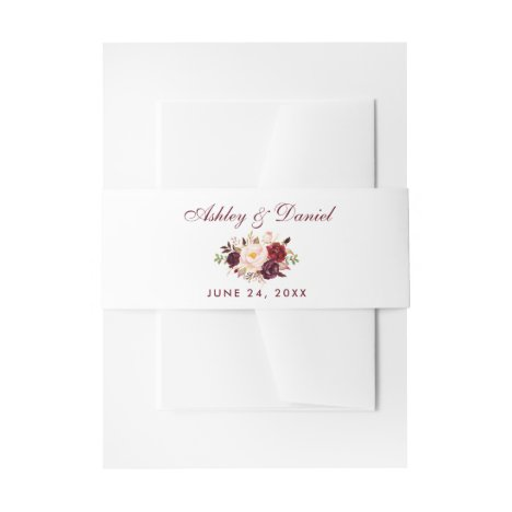 Watercolor Burgundy Floral Wedding Invitation Belly Band