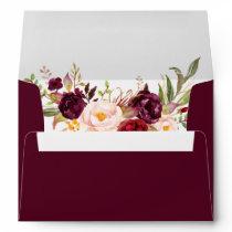 Watercolor Burgundy Floral Wedding Invitation Envelope
