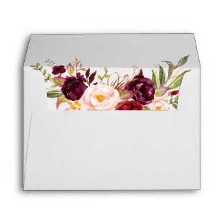 Watercolor Burgundy Floral Wedding Invitation Envelope