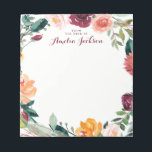 """Watercolor Burgundy Flower Personalized Stationery Notepad<br><div class=""""desc"""">More pretty Notepads in the Little Bayleigh Store!</div>"""