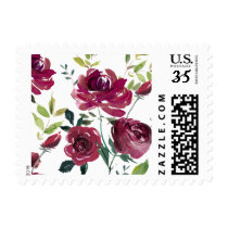 Watercolor Burgundy Flowers | Floral Pattern Postage