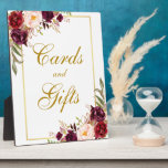"""Watercolor Burgundy Gold Wedding Cards Gifts Plaque<br><div class=""""desc"""">Watercolor Floral Burgundy Marsala Gold Wedding Cards Gifts Table Plaque</div>"""