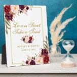 "Watercolor Burgundy Gold Wedding Treats Plaque<br><div class=""desc"">Watercolor Floral Burgundy Marsala Gold Wedding Treats Table Plaque</div>"