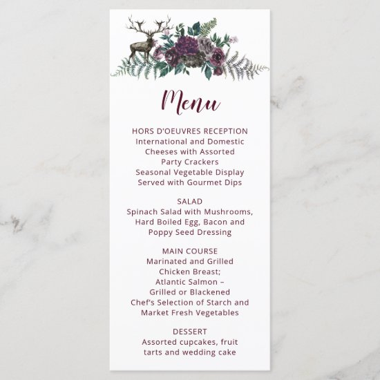 Watercolor Burgundy Gray Flowers with Stag Menu