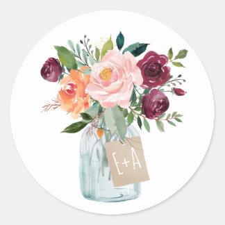 Watercolor Burgundy Orange Pink Floral Mason Jar Classic Round Sticker