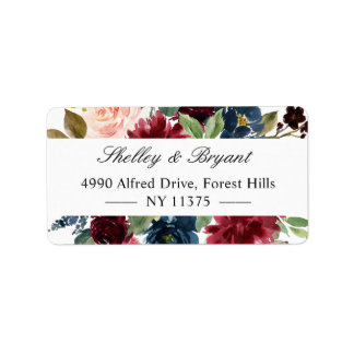 Watercolor Burgundy Red Blush Blue Floral Label