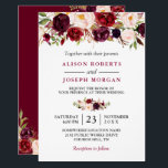 """Watercolor Burgundy Red Floral Rustic Boho Wedding Card<br><div class=""""desc"""">Watercolor Burgundy Red Floral Rustic Boho Wedding Invitation. (1) For further customization, please click the &quot;customize further&quot; link and use our design tool to modify this template. (2) If you prefer Thicker papers / Matte Finish, you may consider to choose the Matte Paper Type. (3) If you need help or...</div>"""