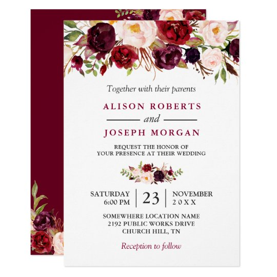 Watercolor Burgundy Red Floral Rustic Boho Wedding Card | Zazzle.com