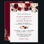 "Watercolor Burgundy Red Floral Rustic Boho Wedding Invitation<br><div class=""desc"">Watercolor Burgundy Red Floral Rustic Boho Wedding Invitation. For further customization,  please click the &quot;customize further&quot; link and use our design tool to modify this template. If you need help or matching items,  please contact me.</div>"