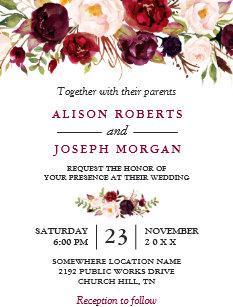 Watercolor Burgundy Red Fl Rustic Boho Wedding Invitation