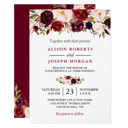 Watercolor Burgundy Red Fl Rustic Boho Wedding Invitation Zazzle