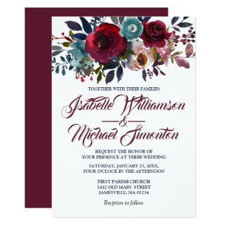 Watercolor Burgundy Red Floral Wedding Invitations