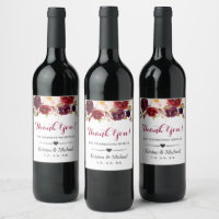 Watercolor Burgundy Red Floral Wedding Thank You Wine Label