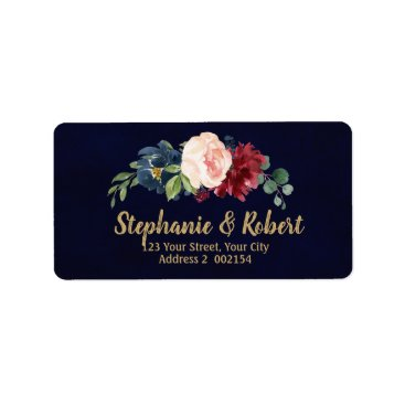 Wedding Themed Watercolor Burgundy Red Navy Floral Address label