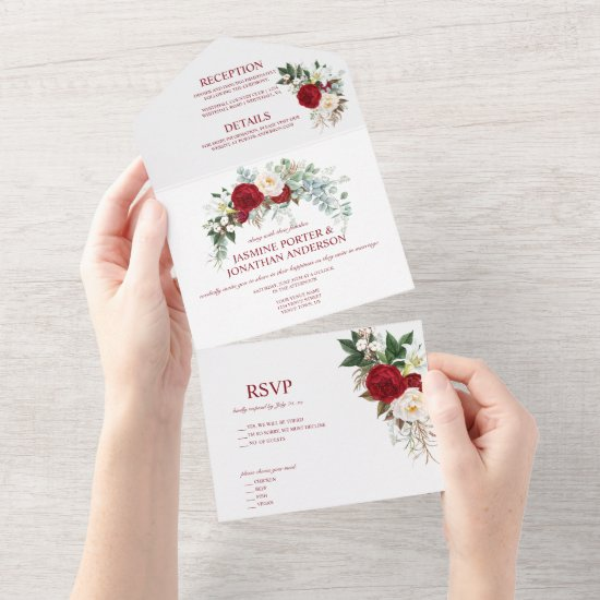 Watercolor Burgundy Red & White Roses All In One I All In One Invitation