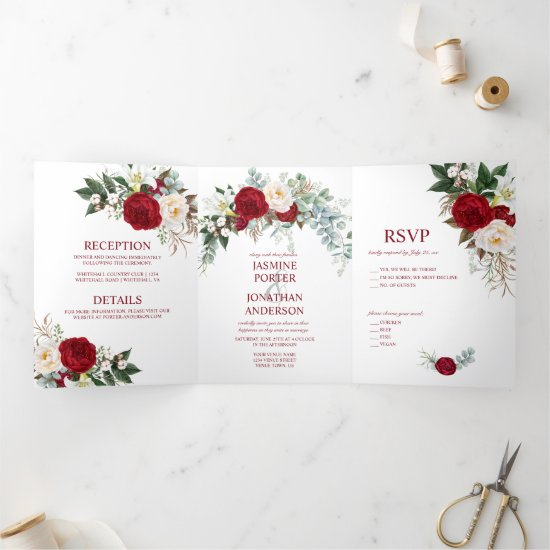 Watercolor Burgundy & White Roses, Lily, Greenery Tri-Fold Invitation