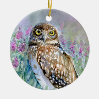 Watercolor Burrowing owl Athene cunicularia Ceramic Ornament