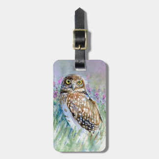 Watercolor Burrowing owl Athene cunicularia Luggage Tag