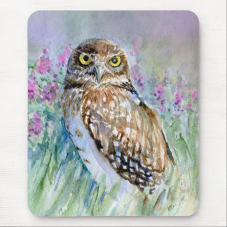 Watercolor Burrowing owl Athene cunicularia Mouse Pad