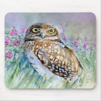 Watercolor Burrowing owl Athene cunicularia Mouse Pads