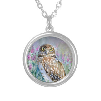 Watercolor Burrowing owl Athene cunicularia Round Pendant Necklace
