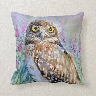 Watercolor Burrowing owl Athene cunicularia Throw Pillow