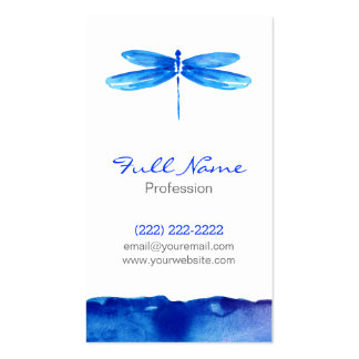 Watercolor Business Card, Blue Dragonfly Modern Business Card