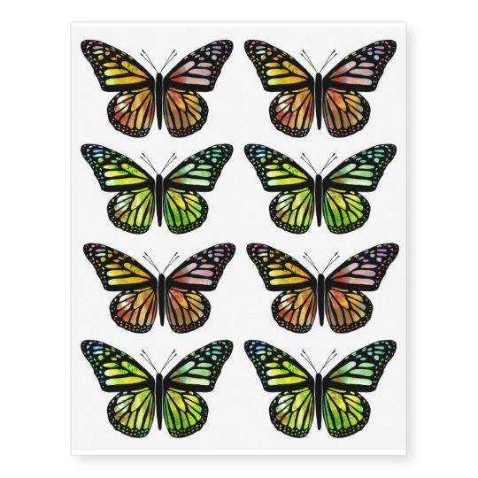 a3f75e61a Watercolor Butterflies Colorful and Beautiful Temporary Tattoos | Zazzle.com