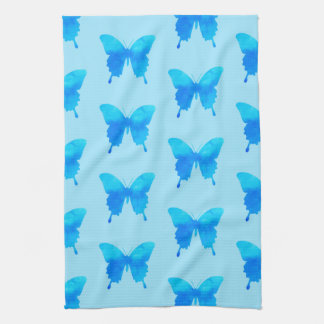 Watercolor Butterflies - Shades of Sky Blue Hand Towel