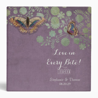 Watercolor Butterflies w Modern Floral Pattern 3 Ring Binder